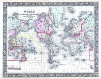 World Map, World Atlas 1864 Mitchells New General Atlas